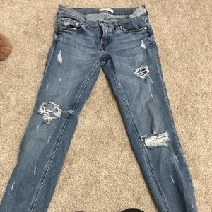 Zara premium denim ripped jeans